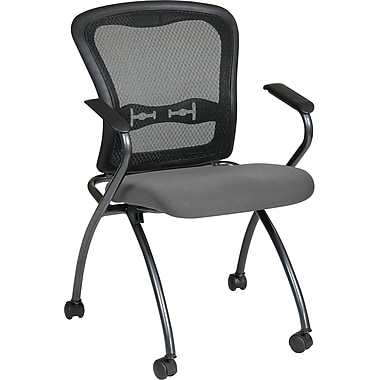 Office Star Proline II® Fabric Deluxe Folding Visitors Chair with Arm and ProGrid® Back, Gray