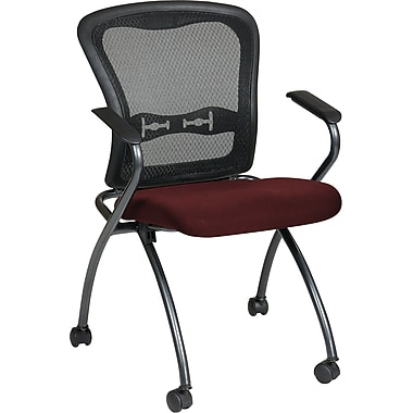 Office Star Proline II® Fabric Deluxe Folding Visitors Chair with Arm and ProGrid® Back, Burgundy