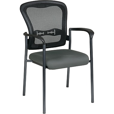 Office Star Proline II® ProGrid® Back Guest Chair with Arm and Titanium Finish, Gray