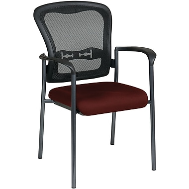 Office Star Proline II® ProGrid® Back Guest Chair with Arm and Titanium Finish, Burgundy
