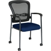 Office Star Proline II® ProGrid® Back Fabric Guest Chair with Arm, Casters and Titanium Finish,Navy