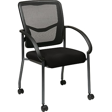 Office Star Proline II® ProGrid® Back Fabric Visitor's Chair with Arm, Black