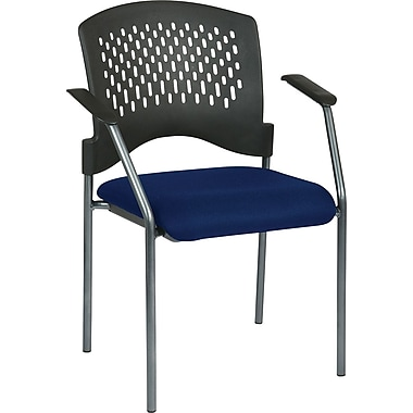 Office Star Proline II® Fabric Guest Chair with Arms and Plastic Wrap Around Back, Navy