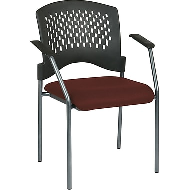 Office Star Proline II® Fabric Guest Chair with Arms and Plastic Wrap Around Back, Burgundy