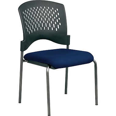 Office Star Proline II® Fabric Armless Guest Chair with Plastic Wrap Around Back, Navy