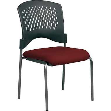 Office Star Proline II® Fabric Armless Guest Chair with Plastic Wrap Around Back, Burgundy