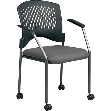 Office Star Proline II® Fabric Titanium Finish Guest Chair with Plastic Wrap Around Back, Gray