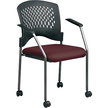 Office Star Proline II® Fabric Titanium Finish Guest Chair with Plastic Wrap Around Back, Burgundy