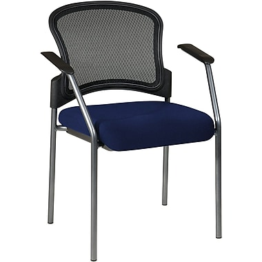 Office Star Proline II® Fabric Titanium Finish Guest Chair with ProGrid® Mesh Back, Navy