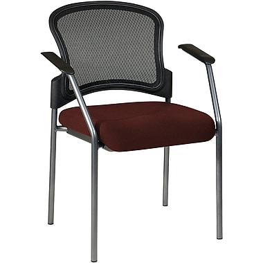 Office Star Proline II® Fabric Titanium Finish Guest Chair with ProGrid® Mesh Back, Burgundy
