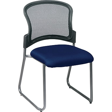 Office Star Proline II® ProGrid® Back Fabric Guest Chair with Titanium Finish, Navy