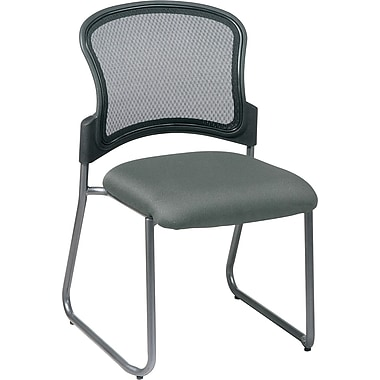 Office Star Proline II® ProGrid® Back Fabric Guest Chair with Titanium Finish, Gray