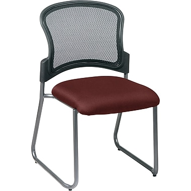 Office Star Proline II® ProGrid® Back Fabric Guest Chair with Titanium Finish, Burgundy