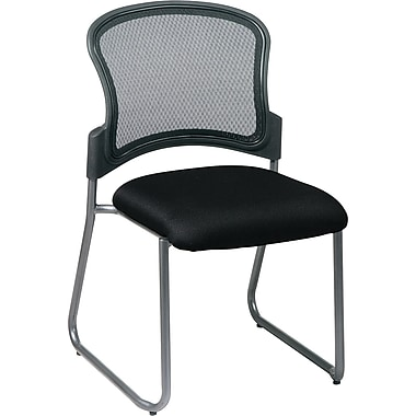 Office Star Proline II® ProGrid® Back Fabric Guest Chair with Titanium Finish, Black