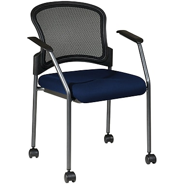 Office Star Proline II® Fabric Titanium Finish Rolling Guest Chair, Navy