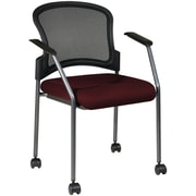 Office Star Proline II® Fabric Titanium Finish Rolling Guest Chair, Burgundy