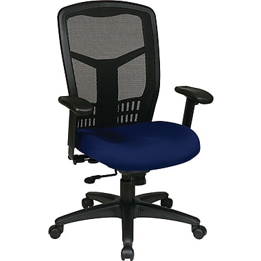 Office Star High-Back Fabric Manager's Chair, Adjustable Arm, Navy