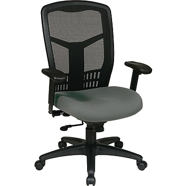 Office Star Proline II® ProGrid® Back Fabric Guest Chair with Arms and Titanium Finish, Navy