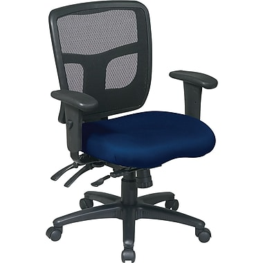 Office Star 92893-225 Pro-Line II Fabric Mid-Back Managers Chair with Adjustable Arms, Navy