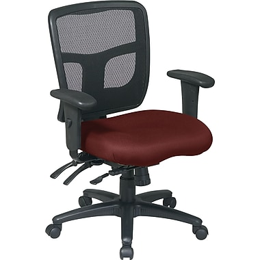 Office Star 92893-227 Pro-Line II Fabric Mid-Back Managers Chair with Adjustable Arms, Burgundy