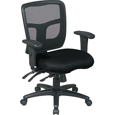 Office Star Mid-Back Fabric Manager's Chair, Adjustable Arms, Black