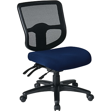 Office Star Dual Function Ergonomic Armless Task Chair with Navy Fabric Seat, Navy