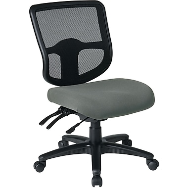 Office Star Dual Function Ergonomic Armless Task Chair with Navy Fabric Seat, Gray