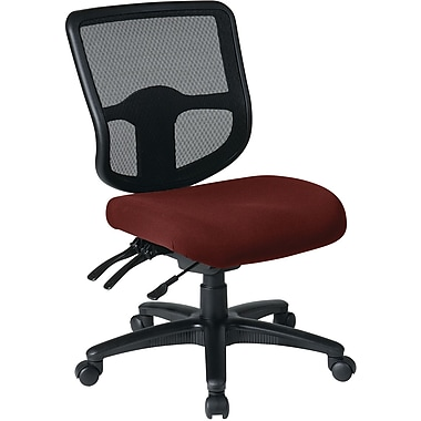 Office Star Dual Function Ergonomic Armless Task Chair with Navy Fabric Seat, Burgundy