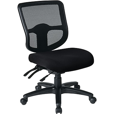 Office Star Dual Function Ergonomic Armless Task Chair Fabric Seat, Black