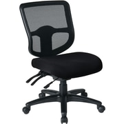 Office Star Dual Function Ergonomic Armless Task Chair with Navy Fabric Seat, Black