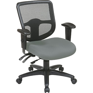 Office Star 98344-226 Pro-Line II Fabric Task Chair with Adjustable Arms, Gray