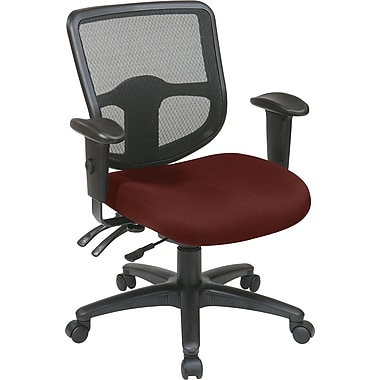 Office Star Proline II Fabric Computer and Desk Office Chair, Adjustable Arms, Burgundy (98344-227)