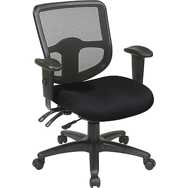 Office Star 98344-231 Pro-Line II Fabric Task Chair with Adjustable Arms, Black