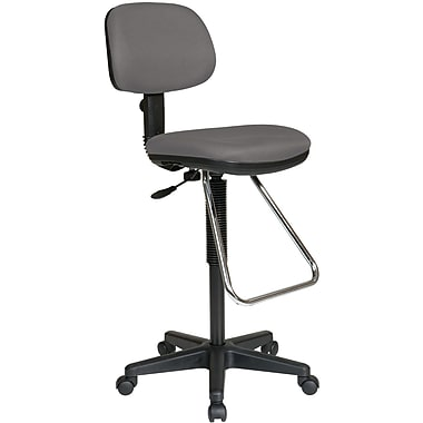 Office Star WorkSmart™ Fabric Economical Drafting Chair with Chrome Teardrop Footrest, Gray
