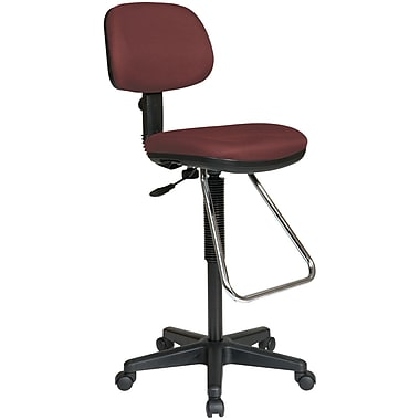 Office Star WorkSmart™ Fabric Economical Drafting Chair with Chrome Teardrop Footrest, Burgundy