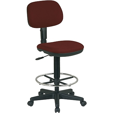 Office Star DC517-227 Work Smart Fabric Armless Drafting Chair, Burgundy
