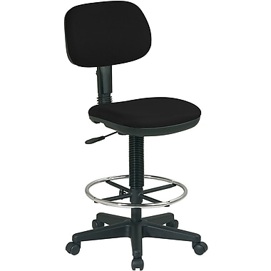 Office Star WorkSmart™ Fabric Sculptured Seat and Back Drafting Chair, Black