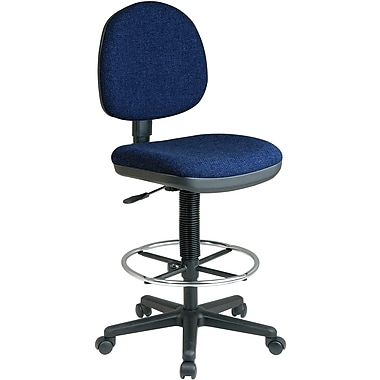 Office Star WorkSmart™ Fabric Lumbar Support Drafting Chair, Navy