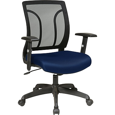 Office Star Fabric Screen Back Chair with Mesh Seat and Height AdjusTable Arm, Navy