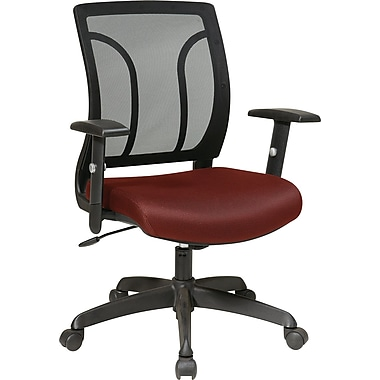 Office Star Fabric Screen Back Chair with Mesh Seat and Height AdjusTable Arm, Burgundy