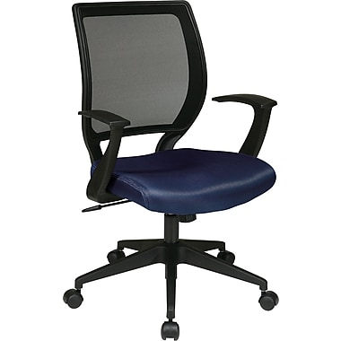 Office Star WorkSmart™ Polyester Black Screen Back Task Chair with in.Tin. Arm, Navy