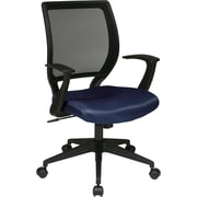 "Office Star WorkSmart™ Polyester Black Screen Back Task Chair with ""T"" Arm, Navy"