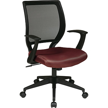 Office Star WorkSmart™ Polyester Black Screen Back Task Chair with in.Tin. Arm, Burgundy