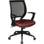 "Office Star WorkSmart™ Polyester Black Screen Back Task Chair with ""T"" Arm, Burgundy"