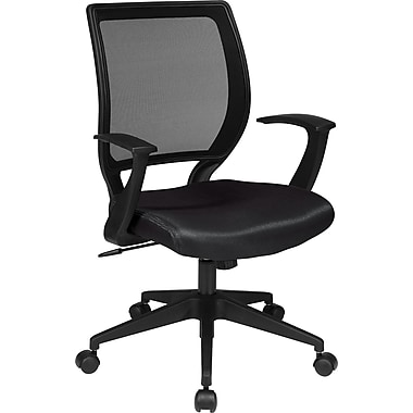 Office Star WorkSmart™ Polyester Black Screen Back Task Chair with in.Tin. Arm, Black