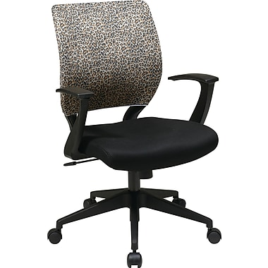 Office Star EM51022N-SL245 Work Smart Fabric Task Chair with Fixed Arms, Leopard