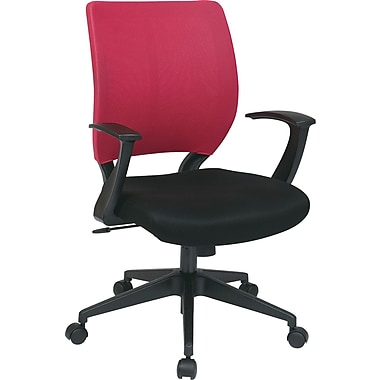Office Star Worksmart Fabric Task Chair, Fixed Arms, Pink