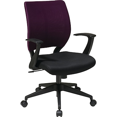 Office Star EM51022N-SL512 Work Smart Fabric Task Chair with Fixed Arms, Purple