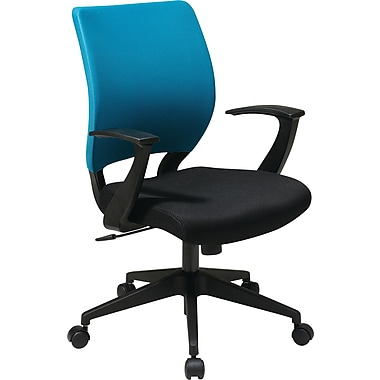 Office Star Screen Back Task Chair with in.Tin. Arm, Blue Fabric Sleeve/Back Cover