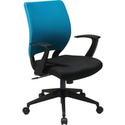 Office Star Screen Back Task Chair with T Arm, Blue Fabric Sleeve/Back Cover